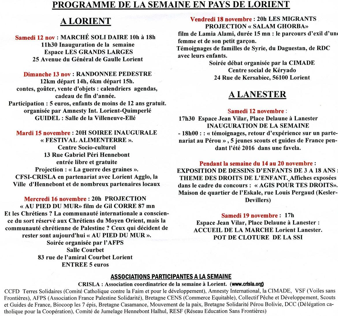 SSI Lorient 2016 programme