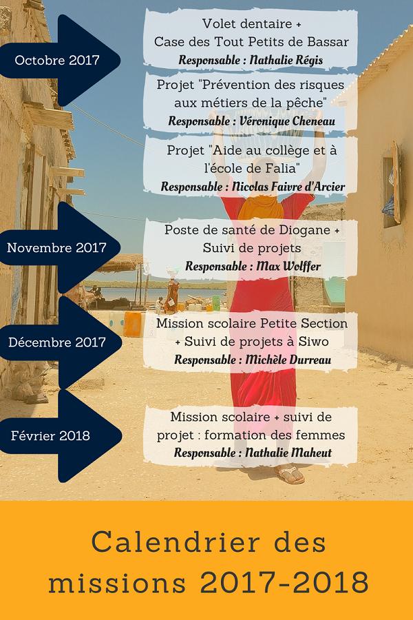 Calendrier des missions 2017-2018